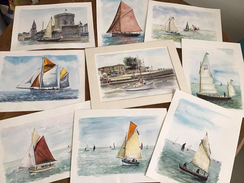 Bateaux divers Sue Dudill artiste Ile de Re