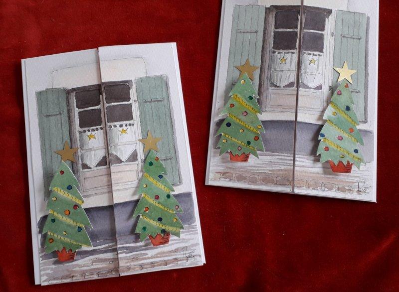 Cartes de Voeux Noel Sue Dudill Artiste Ile de Re
