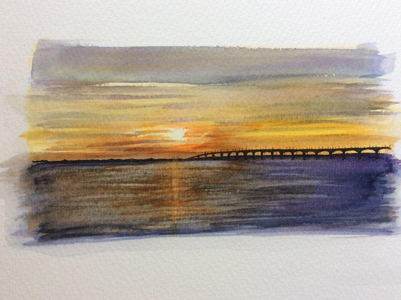 Coucher de soleil Ile de Re  Pont de Re Sue Dudill artiste