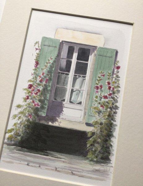 Gen volet rose trem Sue Dudill Artiste Ile de Re