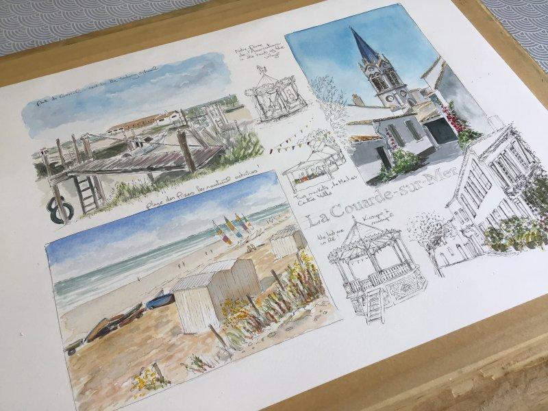 La Couarde Sketch Sue Dudill Artiste Ile de Re