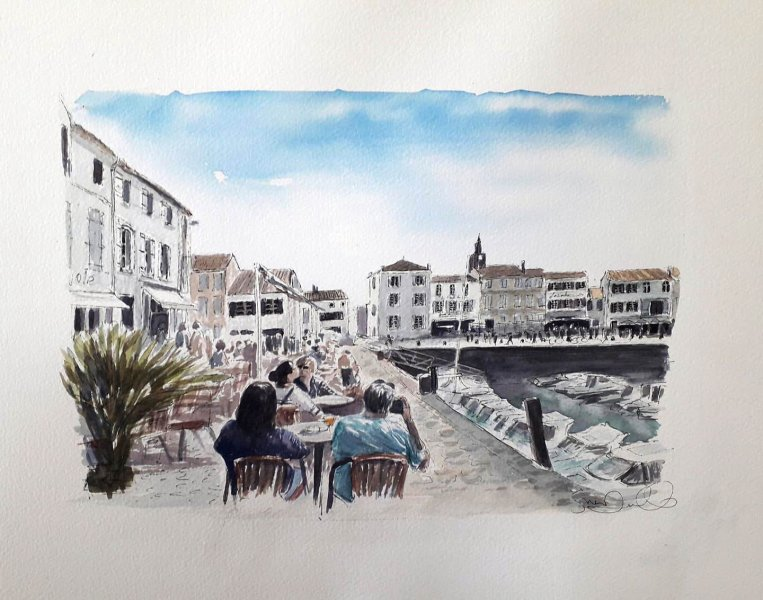 La Flotte Apero Port Sue Dudill Artiste Peintre Ile de Re