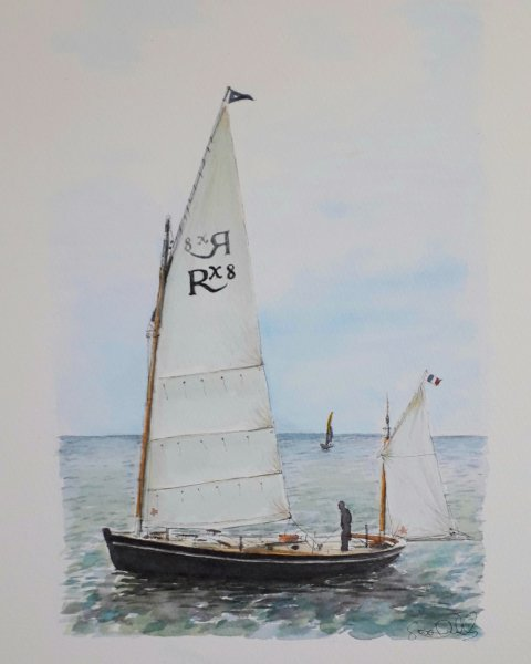La Flotte vieux greements 2 sails Sue Dudill Artiste Ile de Re