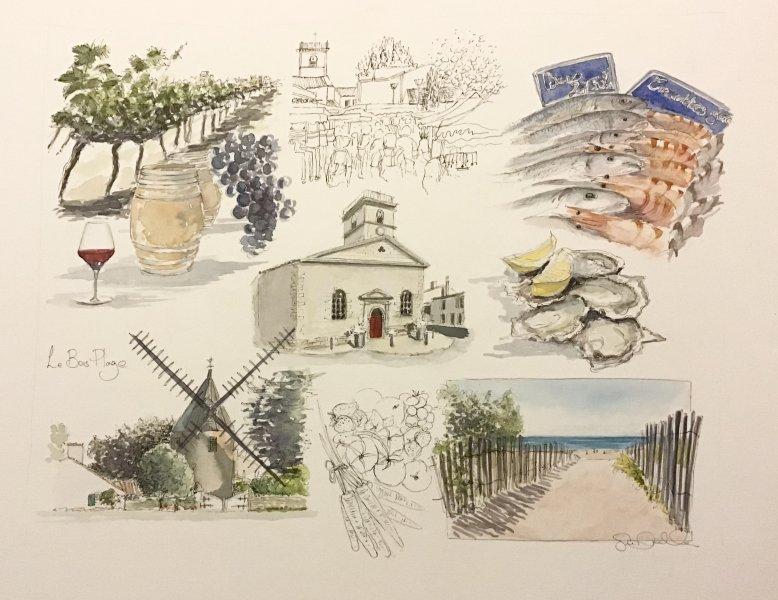 Le Bois Sketch Sue Dudill artiste Ile de Re