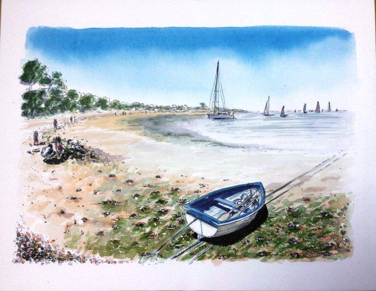 Les Portes rowing Sue Dudill artiste Ile de Re