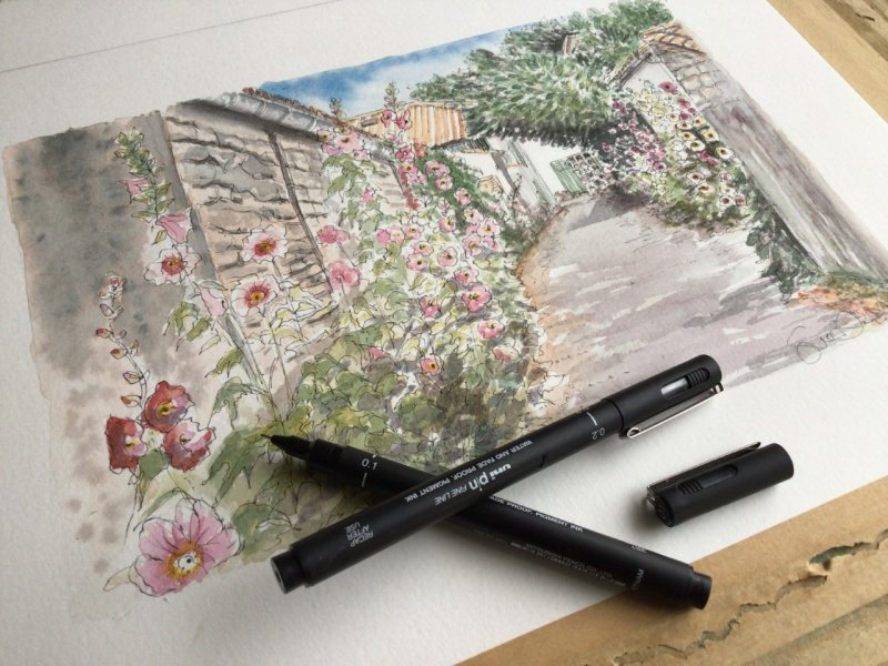 Les Portes village fleuri Sue Dudill Artiste Ile de Re