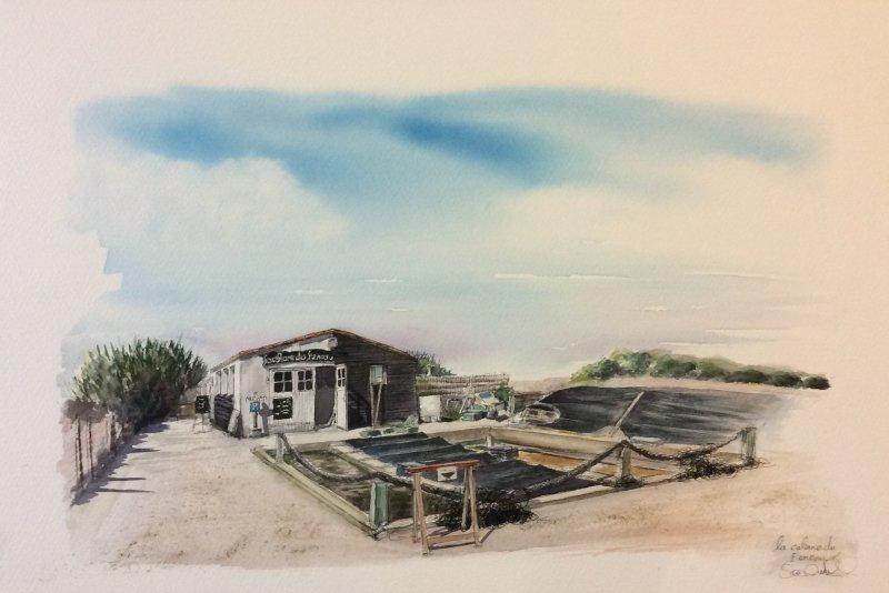 Loix La Cabane du Feneau Sue Dudill Artiste Ile de Re