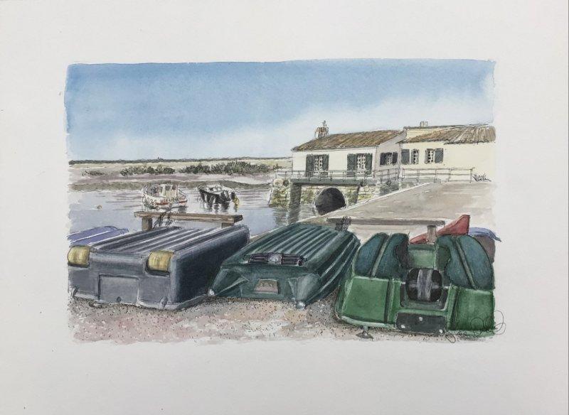 Loix Moulin bateaux Sue Dudill artiste ile de re
