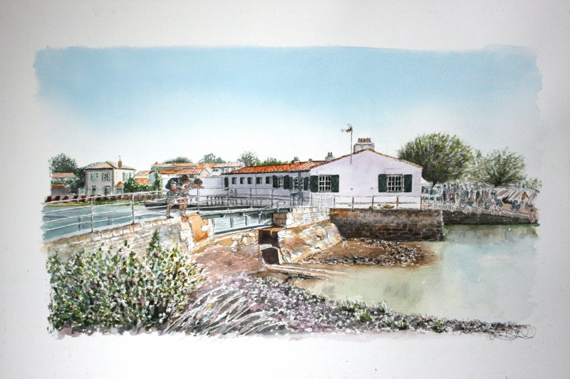Loix Port 2 perso pont Sue Dudill Artiste Ile de Re
