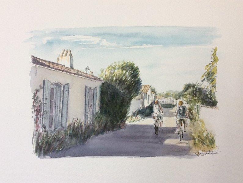 Loix Rue du passage Sue Dudill Artiste ile de re