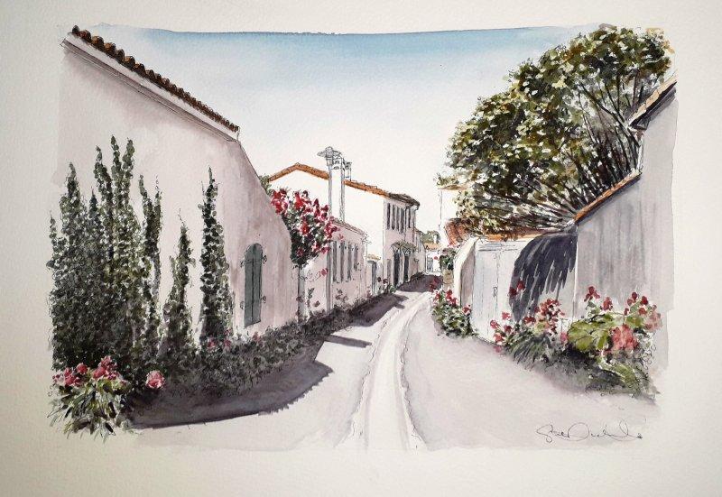 Loix rue des Charrettes Artiste Peintre Ile de Re Sue Dudill