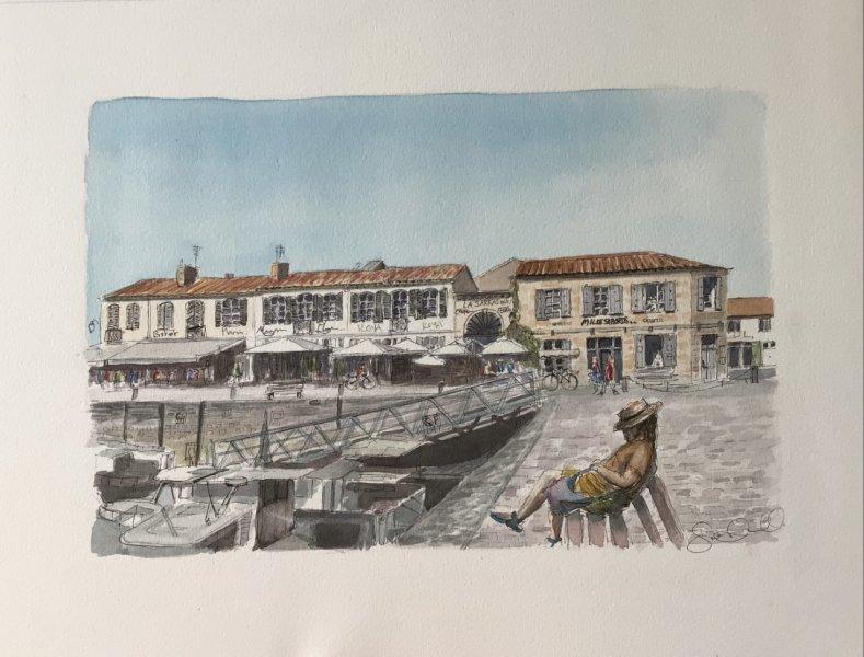 St Martin Le port 2021 endormi Sue Dudill artiste Ile de Re