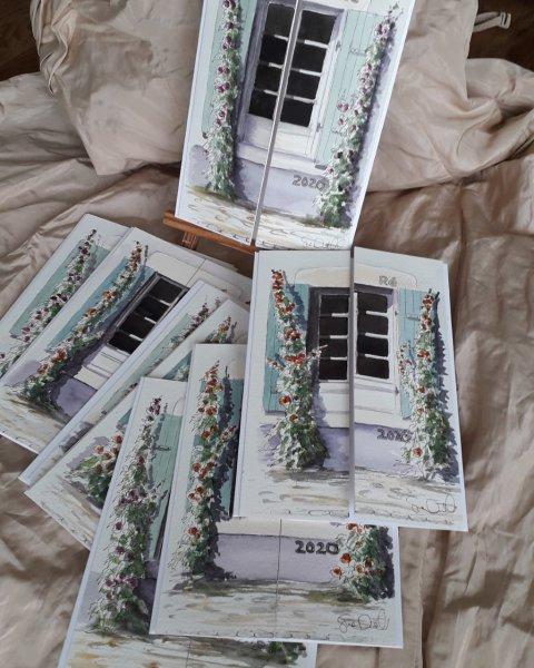Sue Dudill Artiste Ile de Re Nouvelle annee cartes