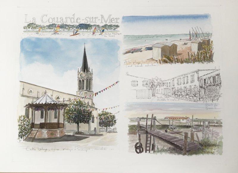 la Couarde sketch 2 Sue Dudill Artiste Ile de Re