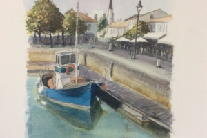 Ars le port Sue Dudill Artiste Ile de Re
