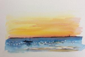 Coucher de soleil Ile de Re bateau Sue Dudill artiste