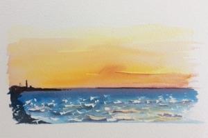 Coucher de soleil Ile de Re phare Sue Dudill artiste
