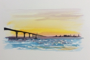 Coucher de soleil Ile de Re pont  Sue Dudill artiste