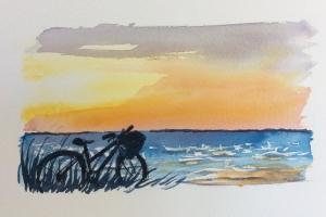 Coucher de soleil Ile de Re velo Sue Dudill artiste