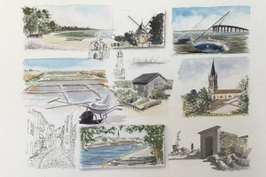 Ile de Re Sketch Sue Dudill artiste Ile de Re