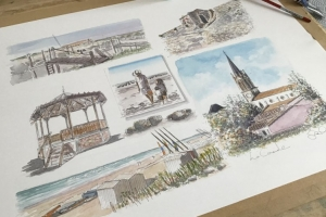La Couarde Sketch 3 Sue Dudill artiste ile de Re