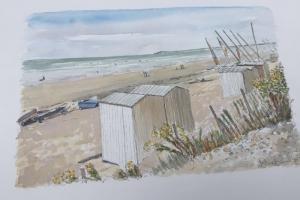 La Couarde beach huts Sue Dudill Artiste Ile de Re