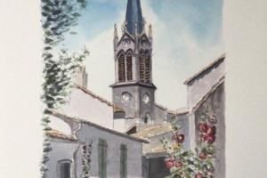 La Couarde eglise Sue Dudill Artiste Ile de Re