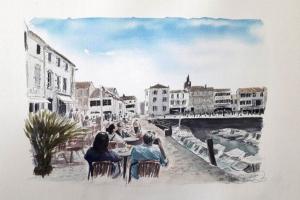 La Flotte Apero Port Sue Dudill Artiste Peintre Ile de Re