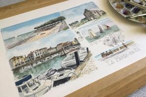 La Flotte Watercolour Sketch Sue Dudill Artiste Ile de Re