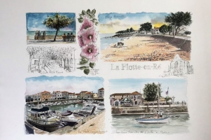 La Flotte watercolour sketch Sue Dudill Artiste Ile de Re