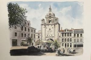 La Rochelle Grosse Horloge Sue Dudill Artiste ile de Re