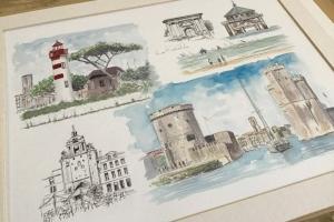 La Rochelle Sketch 2 Sue Dudill Artiste Ile de Re