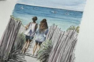Les Portes off to the beach Sue Dudill Artiste Ile de Re