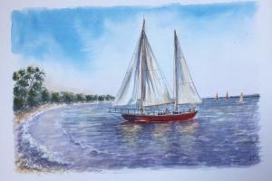 Les Portes violet sea Sue Dudill artiste Ile de Re