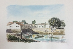 Loix Port Moulin de ps Sue Dudill artiste Ile de Re
