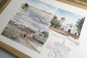 Loix Watercolour Sketch Sue Dudill Artiste Ile de Re