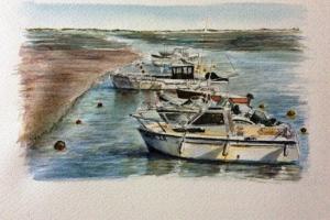 Loix bateaux Sue Dudill artiste Ile de Re