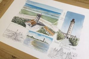 St Clement Watercolour Sketch Sue Dudill Artiste Ile de Re