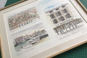 St Martin Watercolour Sketch Sue Dudill Artiste Ile de Re