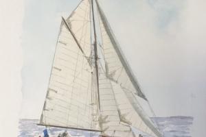 Voilier blanc Sue Dudill Artiste Ile de Re