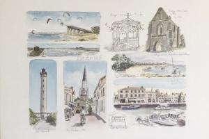 Watercolour Sketch Ile de Re Sue Dudill Artiste